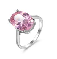 Luckyshine 925 silver Pink Crystal Cubic Zirconia Women Rings NEW Luxury Women Jewelry Ring Wedding Party