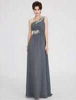Bir Omuz Uzun Resmi Elbiseler A-Line Gri Elbise Kat-Uzunluk Ile Fildişi Aplike Yaz Plaj Balo Parti Elbiseler ile Ruffles