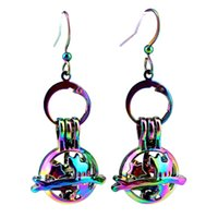 Z804 Rainbow Color Star Cat Beauty Pearl Cage Earrings Hooks with 8mm Plastic Beads Girl's Gift