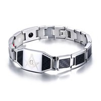 Masonic Carbon Fiber Mens Health Care Bracelet Bangle Magnet...