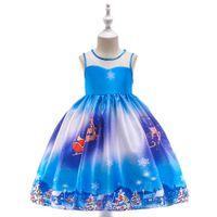 Nuevo vestido de espectáculo para niños con estampado de satén y copos de nieve de Santa Claus