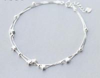 Grossiste Femme Authentique 925 Sterling Sterling Double Couches Star Beads Bracelet Anklet Bijoux Fine Bijoux S275