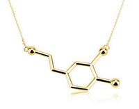 Oly2u Новый Dopamine Molecule Dainty Ожерелья для Женщин Элегантная Длинная Цепочка Небольшой Кулон Химия Ожерелье Ювелирные Изделия -N140
