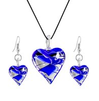 Royal Blue Heart Murano Glass Statement Necklaces &Fashion E...