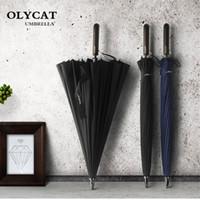 Olycat 24 كيلو مستقيم طويل مظلة windproof قوي مقبض خشبي مظلة المطر النساء الرجال الأعمال glassfiber paraguas