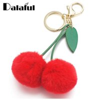 Dalaful Cute Cherry Artificial Rabbit Fur Ball Keychain Keyr...
