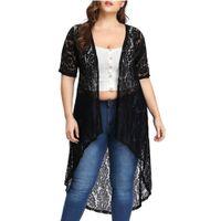 المرأة البلوزات قمصان الأزياء كيمونو المرأة عارضة زائد الحجم 5xl الرباط فضفاض شال سترة أعلى غطاء حتى blusas موهير