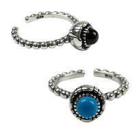 2 Designs Vintage Black Agate And Turquoise Open Size Rings ...