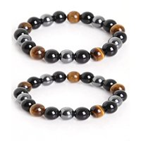 Natural Black Onyx With Tiger Eye Stone Beads Men Hematite J...