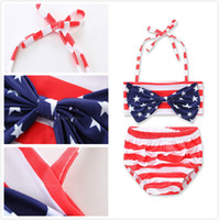 INS Hot Summer Beach American Star Big Bow Top a righe rosse Slip Swimsuits a due pezzi Halter Hanging Neck Costume da bagno 5 Set a Lot