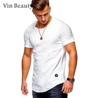 Short- Sleeved T- Shirt Round Neck T- Shirts Striped Fold T- Shi...