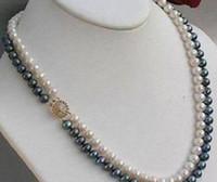 FFREE SHIPPING ** 2Rows 8-9mm Collier de Perles de Culture Akoya Naturel Naturel Noir Blanc