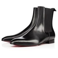 Super calidad rojo inferior Roadie plana para hombre botines diseño cómodo de cuero genuino vestido de fiesta perfecto boda caminando EU38-47