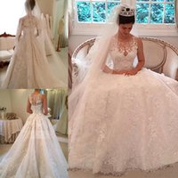 Graceful Lace Applique Wedding Dresses Custom Made Illusion ...