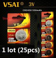 25pcs 1 개 CR2450 3V 리튬 이온 버튼 셀 배터리 CR 2450 3 볼트 리튬 이온 배터리 VSAI 무료 배송