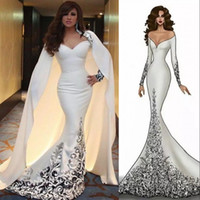 Glamorous Dubai Arab Celebrity Dress Detachable Cape Off Shoulder Long Sleeves Beaded Applique Mermaid Evening Dress Fashion Prom Dresses