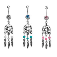 Fashion Crystal Leaf Dream Catcher In acciaio inox con perle turchesi Anello con ombelico Anello ombelico Ciondolo nocciola
