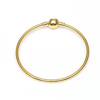 1pcs Gold Color Bangle Bracelets with LOGO Fit Charm Beads f...