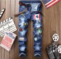los pantalones vaqueros grandes del tamaño 2018 otoño nueva vaqueros lavados agujero de impresión de los hombres pantalones de mezclilla pintura casuales jeans de pierna streight envío libre del tamaño 29-38 CJ1806
