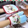 1 Set Christmas Baking Anti- Hot Gloves And Pad Oven And Micr...