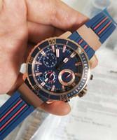 핫 세일 럭셔리 UN 새 마린 크로노 미터 제조 로즈 골드 43 mm 블루 다이얼 VK 쿼츠 무브먼트 크로노 그래프 남성 시계