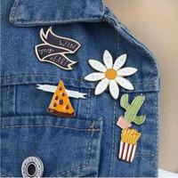 japonesa de dibujos animados del esmalte lindo joyas papas crisantemo de pizza ganar mi corazón gota esmalte Broche Botón Insignia botones ramillete regalo