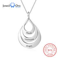 Forma de Gota de água Personalizado Gravar Nome Colar 925 Sterling Silver Colares Pingentes de Presente Para A Mãe (JewelOra NE102377)