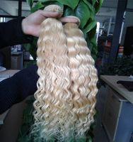 # 613 отбеливатель блондинка вьющиеся человеческие волосы бразильские волосы 2 шт./лот кудрявый вьющиеся девственные бразильские волны волос ткет, двойной обращается,Без пролития, та