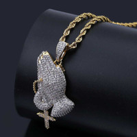 Hip Hop Brass Gold Color Iced Out Micro Pave CZ Praying Hand...