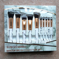 10 unids / set Pinceles de Maquillaje de Mármol Blush Powder Eyebrow Eyeliner Makeup brush set Foundation Free DHL 210