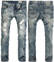 Light Blue Ripped Jeans rectos Hombres Primavera Pantalones largos Distressed Slim Fit Fashion Pants Jean