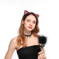 Kızlar Kedi Kulaklar Hairband Şık Kadınlar Rhinestone Kafa Seksi Saç Bandı Aksesuarları Şapkalar Karikatür Saç Hoop