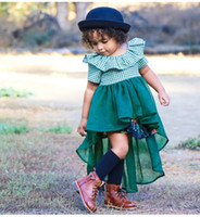 2018 Yeni Avrupa tarzı Kız Bebek Yaz Elbise Moda Çocuk Yeşil Ekose Tül Dantel Swallow Tail Elbise Ücretsiz Kargo