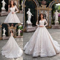 Gorgeous Plus Size Ball Gown maniche lunghe abiti da sposa Sheer collo pieno pizzo applique corsetto corte abiti da sposa