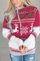 Мода с капюшоном с капюшоном 2018 осень зима женщины толстовки Рождество толстовка с капюшоном кофты с длинным рукавом печати пуловеры