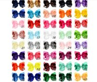 40 Color 4 Inch Fashion Ribbon Bow Hairpin Clips Girls Large...
