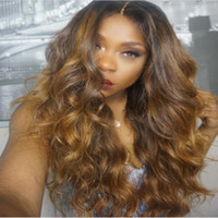 130% Density Ombre Color Full Lace Human Hair Wigs With Baby...