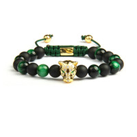 Uomini Panther CZ Bracciali All'ingrosso 8mm Natural Matte Agata Verde Tiger Eye Stone Leopard Macrame Jewelry
