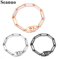 Seanuo Fashion Creative Charm Handcuffs Lover Bangles Bracelets Jewelry Personality Stainless Steel Couple Cuff Braceelt For Men