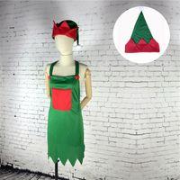 Elf delantal conjunto de sombreros de disfraces de adultos para la fiesta de navidad disfraces trajes de navidad decoración qw8659