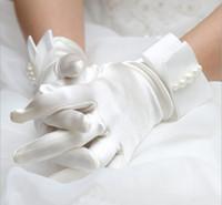 Guanti da sposa moda polso da polso bianco avorio guanti da sposa abito corto paragrafo guanti da sposa accessorio economico