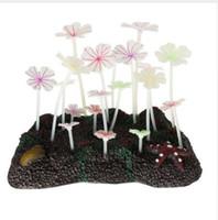 Bella incandescente artificiale corallo acquario arredamento acqua pianta ornamento foglia di loto silicone falso piante serbatoio di pesce accessori lungo 22 cm