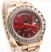 Top-Qualität Luxus-Uhr-neue Ankunfts-18K Herren Rose Gold 41mm Red Dial Bigger Diamant-Uhr-automatische mechanische Herrenuhren