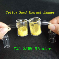 25mm OD XXL Quartz Thermochromique Seau Domeless Thermal Banger Clouer 10mm 14mm 18mm Mâle Femme Jaune Sable Changement De Couleur Pour Glass Bongs