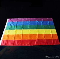 90 * 150 cm Rainbow Flag 3 * 5ft Tessuto in poliestere Lesbiche Gay Pride LGBT Bandiere bandiere colorate per attività Parade Cheer Up Decoration 5jh ZZ