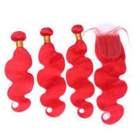 Paquetes de cabello virgen brasileño de color puro con cierre de encaje Extensión de pelo rojo con cierre de encaje 4x4 nudos blanqueados 4pcs / lote