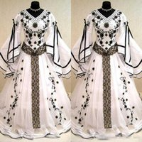 Medieval Vintage 2017 Black And White Long Sleeves Wedding D...