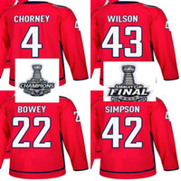 Campeones de la Copa Stanley 2018 Final Hombres Washington Capitals Taylor Chorney Tom Wilson Madison Bowey Wayne Simpson Red Custom Hockey Jerseys