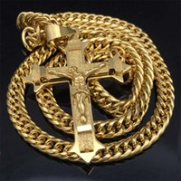 Gold tone Cross Christ Jesus Pendant Necklace Stainless Stee...