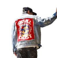 Street Casual Men Outwear Chaqueta de mezclilla Rock Skull Diseños de Patch Vintage Hole Leisure Cowboy Coat prendas de vestir exteriores